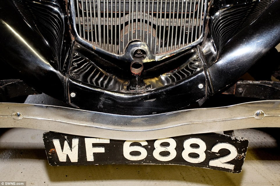 Registered: Mr Bluck realised what the car was after googling the registration he saw in the photos, and that is when he found out it had been restored after spending half a century in a shed