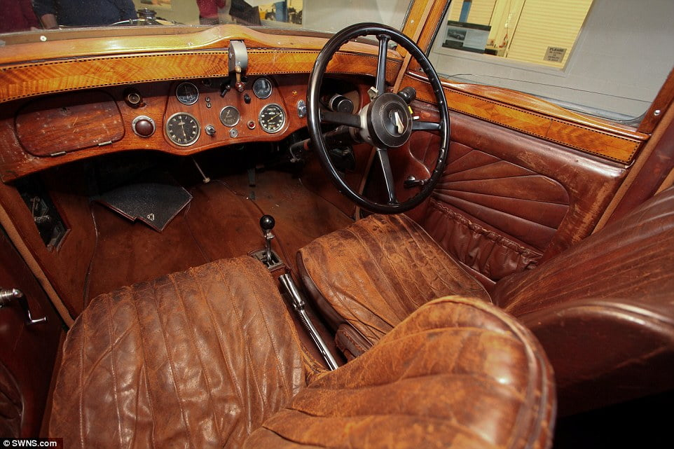 Pristine:The 1934 Sunbeam Dawn in near perfect condition was on display at the Black Country Living Museum, and Robert has now travelled there to give it a drive, recreating the experience of his forefathers