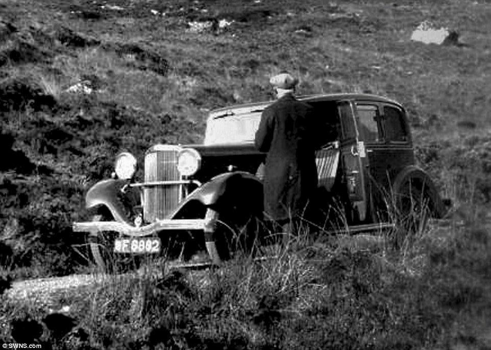 Heritage:The retired librarian was researching his family tree when he found old photographs of his late father Bernard and grandfather (pictured) Albert with the car in the 1930s